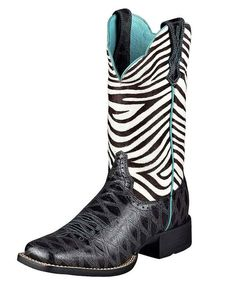 "Ariat Women's Quickdraw 11"" Boot - Black Anteater Print/Zebra  http://www.countryoutfitter.com/products/16260-womens-quickdraw-11-boot-black-anteater-print-zebra"