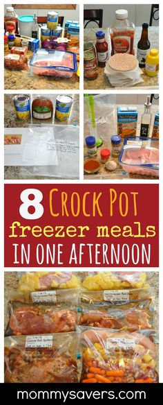 8 Crock Pot Freezer Meals in One Afternoon. Create more time for family when you prepare easy meals ahea 8 Crock Pot Freezer Meals in One Afternoon. Create more time for family when you prepare easy meals ahead of time. Freezable Meals, Slow Cooker Freezer Meals, Make Ahead Freezer Meals, Crock Pot Freezer, Slow Cooker Recipes, Cooking Recipes, Freezer Cooking, Freezer Recipes, Cooking Tips