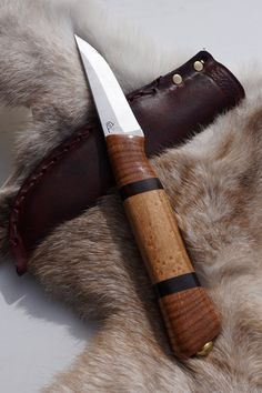 Handmade scandi-style carving knife with cross-cut oak, ebony and reclaimed hard maple