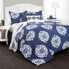 This basic blue and white damask comforter is a classic bedding design.