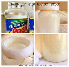 turn a Ragu jar into a Snowflake Jar