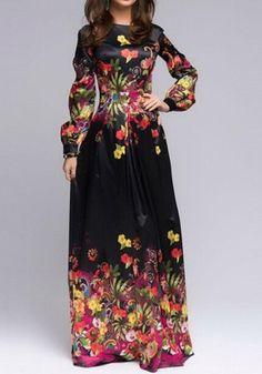 Black Floral Print Round Neck Elegant Maxi Dress
