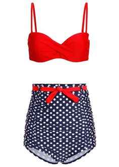 Polka Dots Galore Very High Waist Retro Bikini Retro Bathing Suits ffab9e32475