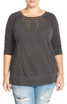 Lucky Brand Textured Sweatshirt (Plus Size) available at #Nordstrom