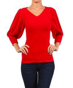 Look at this #zulilyfind! Red Fleece V-Neck Dolman Top by One Fashion #zulilyfinds