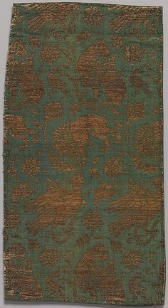 Textile Date: late 14th–early 15th century Geography: Made in Venice (probably), Italy Culture: Italian Medium: Silk, metal thread; twill and twill; silk, gilt membrane on linen. Accession Number: 46.156.32