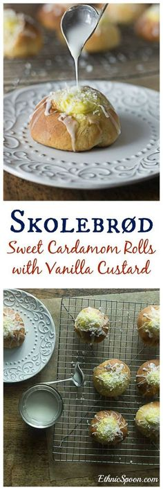 Skolebrød or skolleboller buns are a sweet pastry with cardamom, filled with vanilla custard and topped off with a glaze and chopped coconut. Swedish Recipes, Sweet Recipes, Norwegian Recipes, Delicious Desserts, Dessert Recipes, Yummy Food, Viking Food, Norwegian Food, Custard Filling