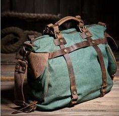Vintage Military Canvas Leather Men Shoulder Bag Crossbody Bag Men Bag Tote Handbag