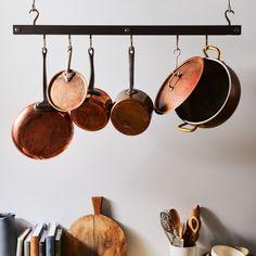 Hanging Bar Pot Rack on Hanging Pans, Pot Rack Hanging, Hanging Storage, Wall Storage, Storage Baskets, Pan Hanger, Tuscan Design, Tuscan Style, Wrought Iron Decor