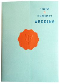 Maybe for our invites...with coral seal instead and a brighter turquoise color paper