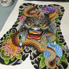 Cat Skull Tattoo, Foo Dog Tattoo, Hannya Tattoo, Irezumi Tattoos, Japanese Drawings, Japanese Tattoo Art, Oni Mask, Japan Tattoo, Back Pieces