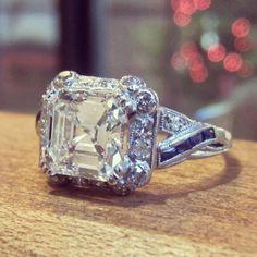Art Deco beauty with Asscher Cut diamond and Sapphire Stripe detail