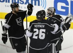 """""""Kings nullify Sharks bite to take 3-2 series lead:  The Los Angeles Kings regained control of their Western Conference semi-final against the San Jose Sharks with a convincing 3-0 Game Five victory on Thursday to move one win away from claiming a series triumph.""""  Dave Cochran, Seattle"""