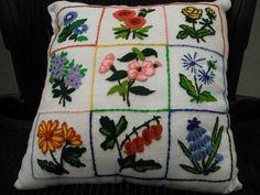 Describe Happy: Crewel Flower Power Pillow
