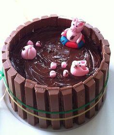 Varkentjes in de modder taart van Taaartjes.nl