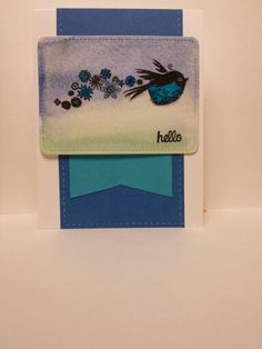 Watercolor fyling blue bird to say hello