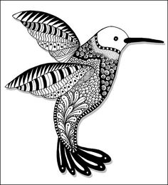 Hummingbird Zentangle by PRaile, via Flickr- would go nice with a flower on the side or it pointing down over a flower. love this as a base