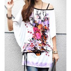 Stylish Scoop Neck Floral Print Short Sleeve T-Shirt with Belt For Women