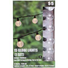 Clear Globe String Lights For Indoor/outdoor Use – 15 Globe String Lights, String Lights Outdoor, Voss Bottle, Water Bottle, Maine, Witch Room, Five Below, School Decorations, Room Accessories