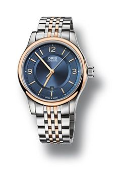 Oris Blue Dial Two Tone Stainless Steel Mens Watch 73375944335MB *** Visit the image link more details.