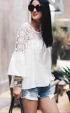#spring #outfits White Lace Top & Ripped Denim Short