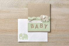 Shelli's cute card with Zoo Babies, Big News, Little Letters Thinlits dies, & more. All supplies from Stampin' Up!