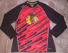 Men's Reebok Center Ice Large Chicago Blackhawks L/S Athletic Shirt Red Black  | eBay