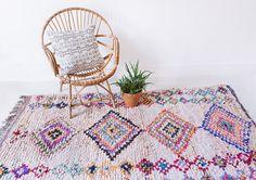"""Vintage Moroccan Boucherouite Rug, """"The Juno,"""" Rag Rug, Berber Rug, Geometric Pattern Rug, Colorful Rug, Bohemian, Boho Rug"""