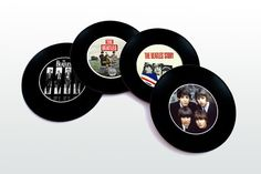 The Beatles Magnetic round Coasters Including Wooden Stand Set, Unique Souvenir, FREE SHIPPING