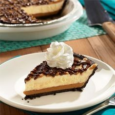 A crisp chocolate crumb crust glazed with peanut butter, filled with ice cream then drizzled with peanut butter and chocolate.  Allrecipes.com