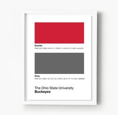 Ohio State Buckeyes Gameday Colors Print Show your Buckeyes spirit with this Ohio State Buckeyes - Game Day Colors Poster which looks great in your dorm, apartment, man cave or any other room in your house. This Game Day Poster is a great conversation piece and allows you to celebrate your favorite school through a pantone-inspired, colorful, and minimalist design. The Ohio State Buckeyes Subway Sign works well as stand-alone wall art or create your own gallery with our other designs…