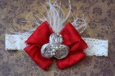 Silver/Gray and Red Headband, Children Hair Accessory, Shabby Headband, Baby Girl, Photo Prop, Red Hair Bow, Red Headband