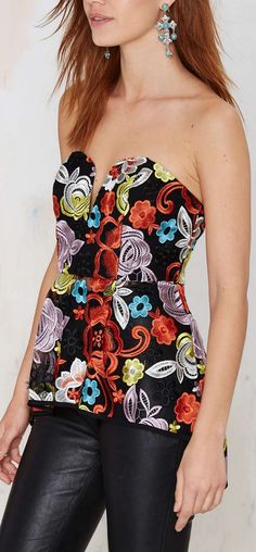 embroidered peplum bustier
