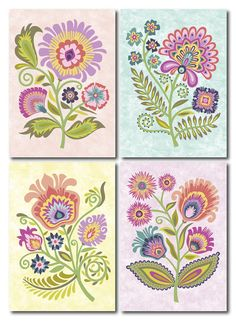Polish Papercut Style Floral Blank Note Cards Wycinanki