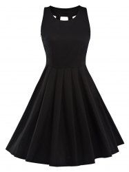 Fit and Flare Pleated Vintage Dress - BLACK S
