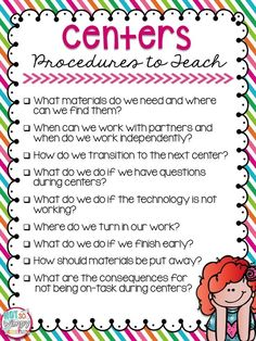 5 Reasons Centers Work in My Classroom - This poster is just a part of this awesome post about how to make centers work in your classroom!