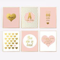 Pink and Gold Nursery Gallery Wall - Blush Pink Prints with personalized