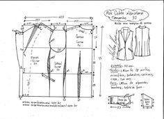 Pattern summer simple-cut blouse (Sewing and cutting) - Inspiration Needlewoman magazine Vintage Dress Patterns, Coat Patterns, Clothing Patterns, Sewing Patterns, T Shirt Sewing Pattern, Pattern Drafting, Fashion Sewing, Fashion Dolls, Z Photo