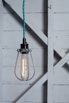 Industrial Lighting Wire Cage Light Color Cord by IndLights Vintage Industrial Lighting, Industrial Pendant Lights, Pendant Lighting, Industrial Style, Industrial Design, Philippe Starck, Wire Pendant Light, Garage Lighting, Office Lighting