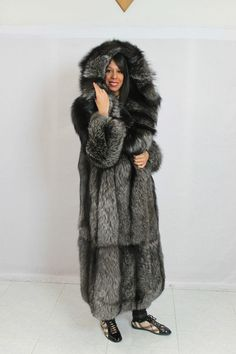 hooded silver fox fur coat