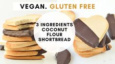 Gluten-free Almond flour shortbread cookies with 3 ingredients - TCPK No Bake Coconut Cookies, Vegan Peanut Butter Cookies, Cookies Vegan, Peanut Butter Oatmeal, Healthy Peanut Butter, Vegan Blueberry, Blueberry Breakfast, Breakfast Bars, Coconut Flour