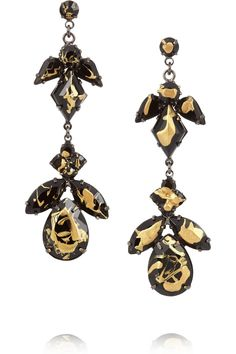 Tom Binns painted Swarovski crystal earrings