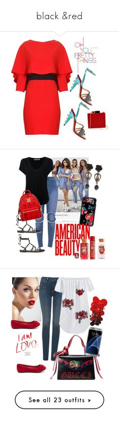 """""""black &red"""" by prettybrenda ❤ liked on Polyvore featuring Gucci, Alice + Olivia, Lulu Guinness, Alexander Wang, Casetify, Temperley London, MCM, Givenchy, NYDJ and AT&T"""