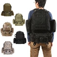 Black Outdoor Military Tactical Backpack Rucksacks Sports Bag Camping Hiking Hunting Bags Packs mochila militar Large Capacity