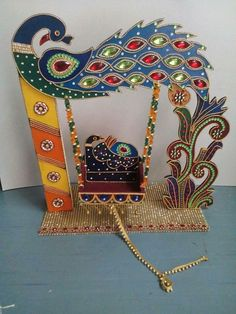 Wowsome.. Krishna Swing  Peacock Design Gauri Decoration, Kalash Decoration, Thali Decoration Ideas, Decoration For Ganpati, Diwali Decorations, Festival Decorations, Art N Craft, Craft Work, Hobbies And Crafts
