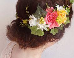 bridal floral crown, pink flower crown, bridal hair accessories, ivy -CAROLINE- wedding headpiece, bright pink, yellow rose flower wreath