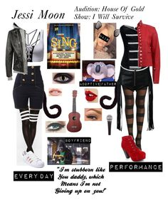 A fashion look from December 2016 featuring red leather jacket, Philipp Plein and long socks. Browse and shop related looks. Disney Themed Outfits, Character Inspired Outfits, Disney Bound Outfits, Teenager Outfits, Outfits For Teens, Girl Outfits, Tv Show Outfits, Fandom Outfits, Vampire Diaries Outfits