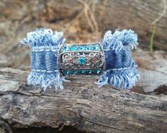 Items similar to Double Frayed Denim Cuff Bracelet with Glass Beads and Pave Clay Beads with Czech Rhinestones on Etsy Fabric Jewelry, Boho Jewelry, Handmade Jewelry, Recycled Jewelry, Indian Jewelry, Handmade Items, Jean Crafts, Denim Crafts, Denim Bracelet