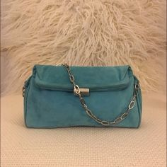 Kenneth Cole Green/Turquoise Baguette Shoulder Bag Kenneth Cole green/turquoise baguette shoulder bag with chains and clasp closure. Kenneth Cole Bags Shoulder Bags