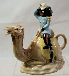 Carlton Ware Golly on a Camel Novelty Teapot - Golly At War Series Black Americana. Chocolate Pots, Chocolate Coffee, Cute Teapot, Glass Shoes, Carlton Ware, Tea Caddy, Cup And Saucer, Tea Time, Tea Pots